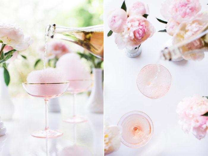 Champagnecocktail med fläder och sockervadd.