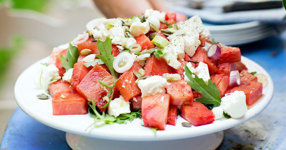vattenmelon och fetaostsallad