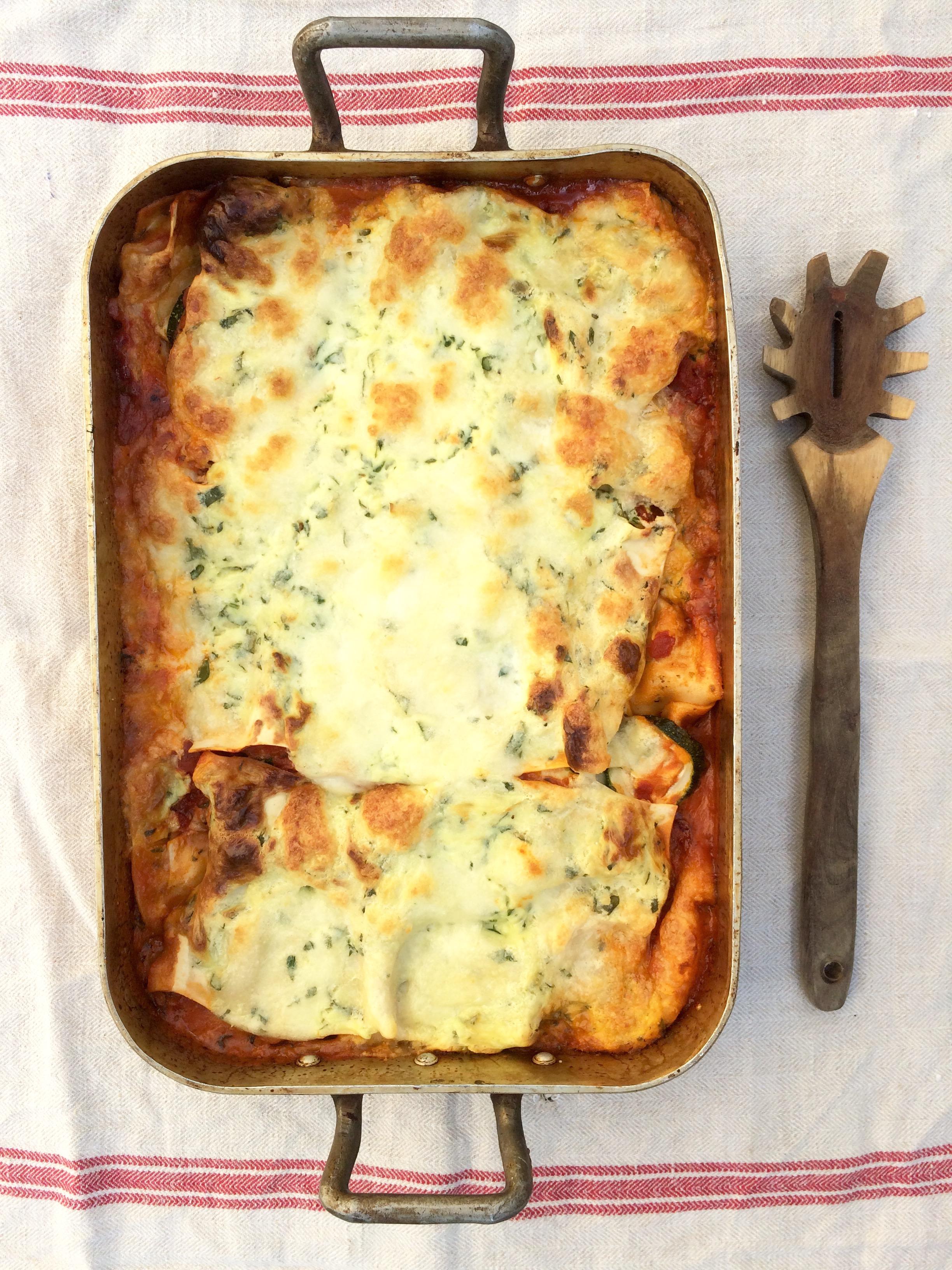 vegetarisk lasagne recept spenat