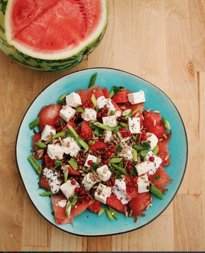 fetaost och vattenmelonsallad