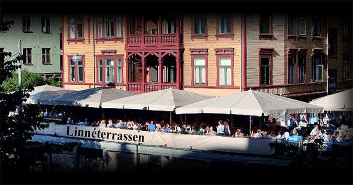 Uteserveringen på Linnéterrassen i Göteborg.